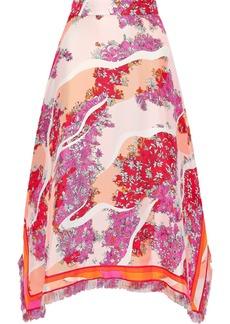 Emilio Pucci Woman Asymmetric Printed Silk-twill Midi Skirt Pink