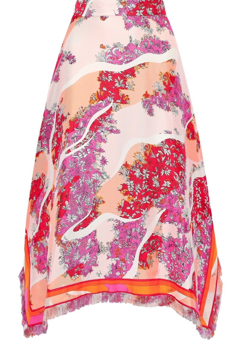 Emilio Pucci Woman Asymmetric Printed Silk-twill Midi Skirt Pink