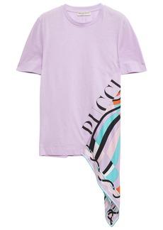 Emilio Pucci Woman Asymmetric Printed Silk Twill-paneled Cotton-jersey T-shirt Lilac