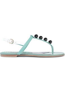 Emilio Pucci Woman Bead-embellished Leather Slingback Sandals Light Green