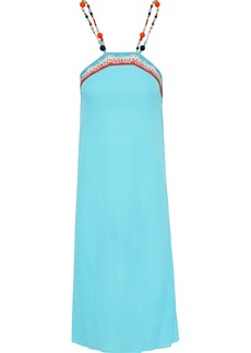 Emilio Pucci Woman Bead-embellished Printed Crepe Dress Turquoise