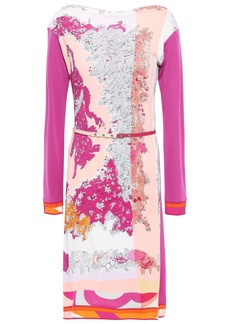 Emilio Pucci Woman Belted Floral-print Jersey Mini Dress Pink