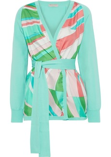 Emilio Pucci Woman Belted Printed Crepe De Chine-paneled Cotton Cardigan Mint