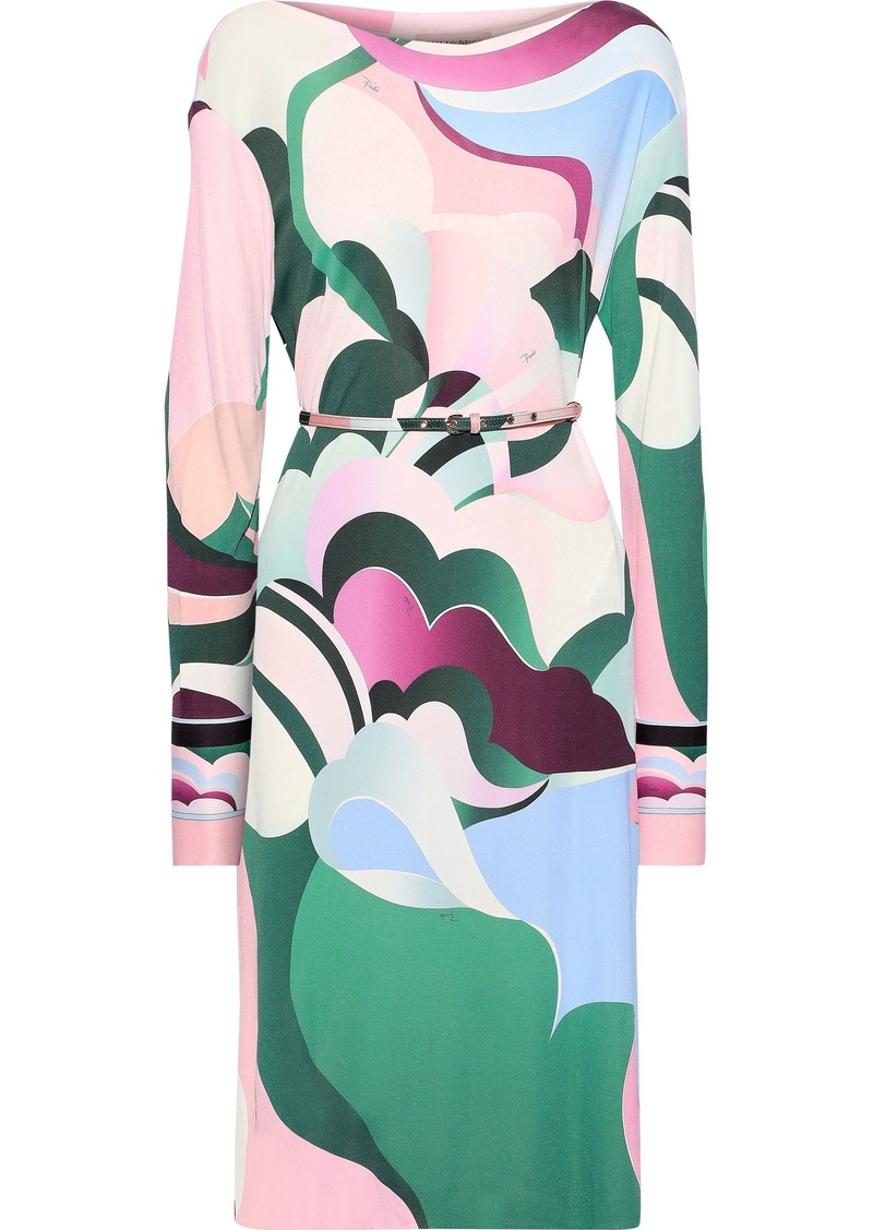 Emilio Pucci Woman Belted Printed Jersey Dress Baby Pink