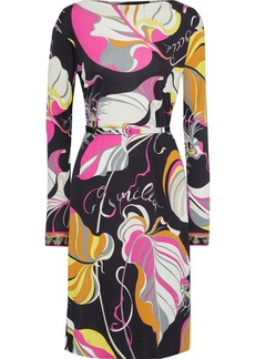 Emilio Pucci Woman Belted Printed Jersey Dress Black