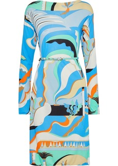 Emilio Pucci Woman Belted Printed Jersey Dress Light Blue