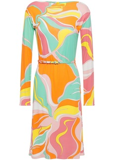 Emilio Pucci Woman Belted Printed Jersey Dress Orange