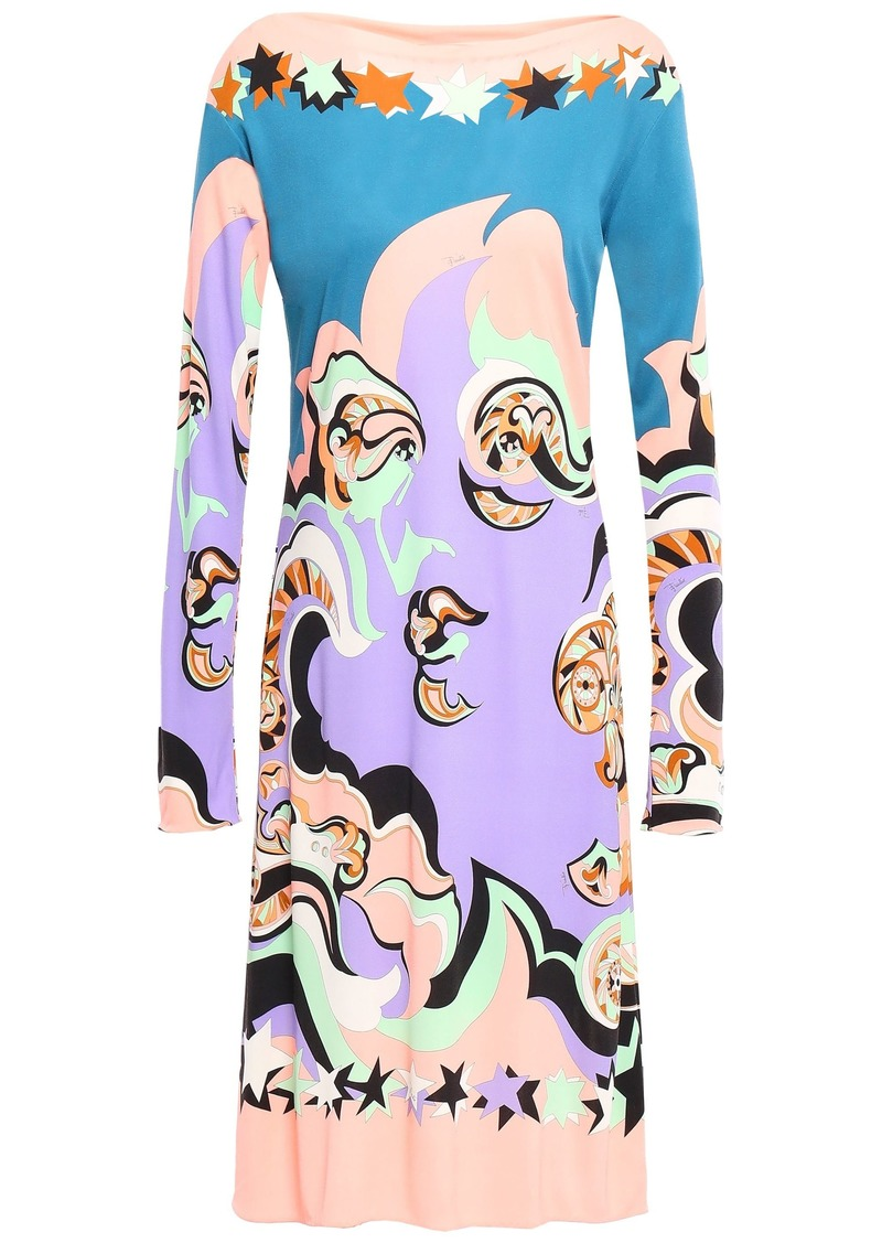 Emilio Pucci Woman Belted Printed Jersey Dress Peach