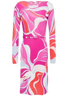 Emilio Pucci Woman Belted Printed Jersey Mini Dress Fuchsia