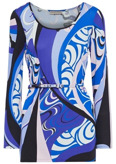 Emilio Pucci Woman Belted Printed Jersey Tunic Blue