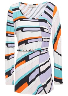 Emilio Pucci Woman Belted Printed Jersey Top Lavender