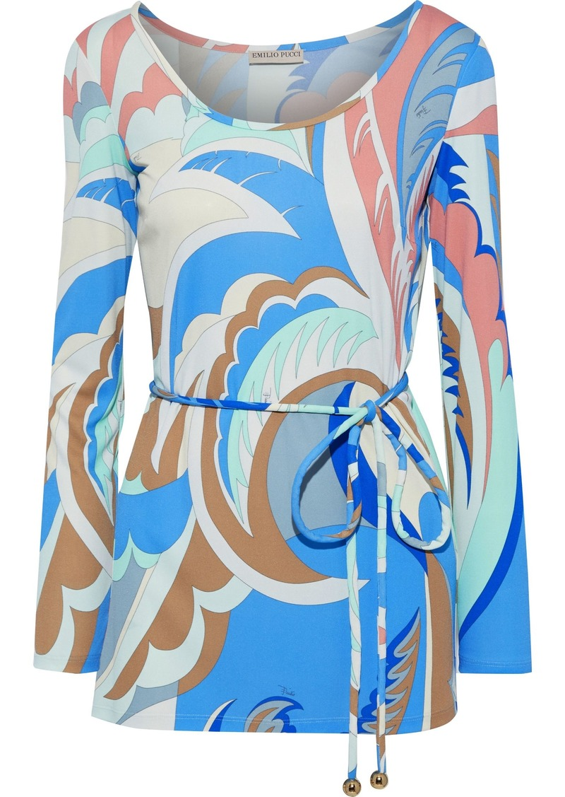 Emilio Pucci Woman Belted Printed Jersey Top Blue