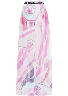 Emilio Pucci Woman Belted Printed Metallic Silk-blend Jacquard Maxi Skirt White