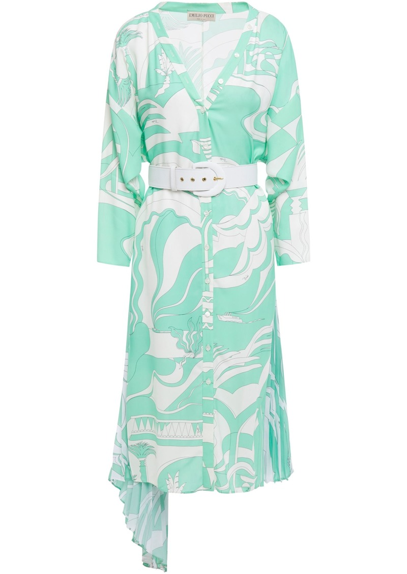 Emilio Pucci Woman Belted Printed Pleated Crepe De Chine-paneled Twill Dress Light Green