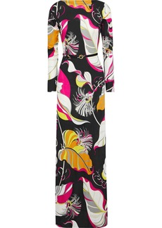 Emilio Pucci Woman Belted Printed Silk-jersey Maxi Dress Black