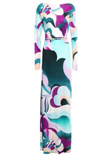 Emilio Pucci Woman Belted Printed Silk-jersey Maxi Dress Turquoise