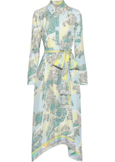 Emilio Pucci Woman Belted Printed Silk-twill Midi Shirt Dress Sky Blue