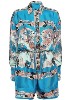 Emilio Pucci Woman Belted Printed Silk-twill Playsuit Cobalt Blue
