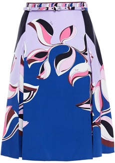 Emilio Pucci Woman Belted Printed Silk-twill Skirt Cobalt Blue