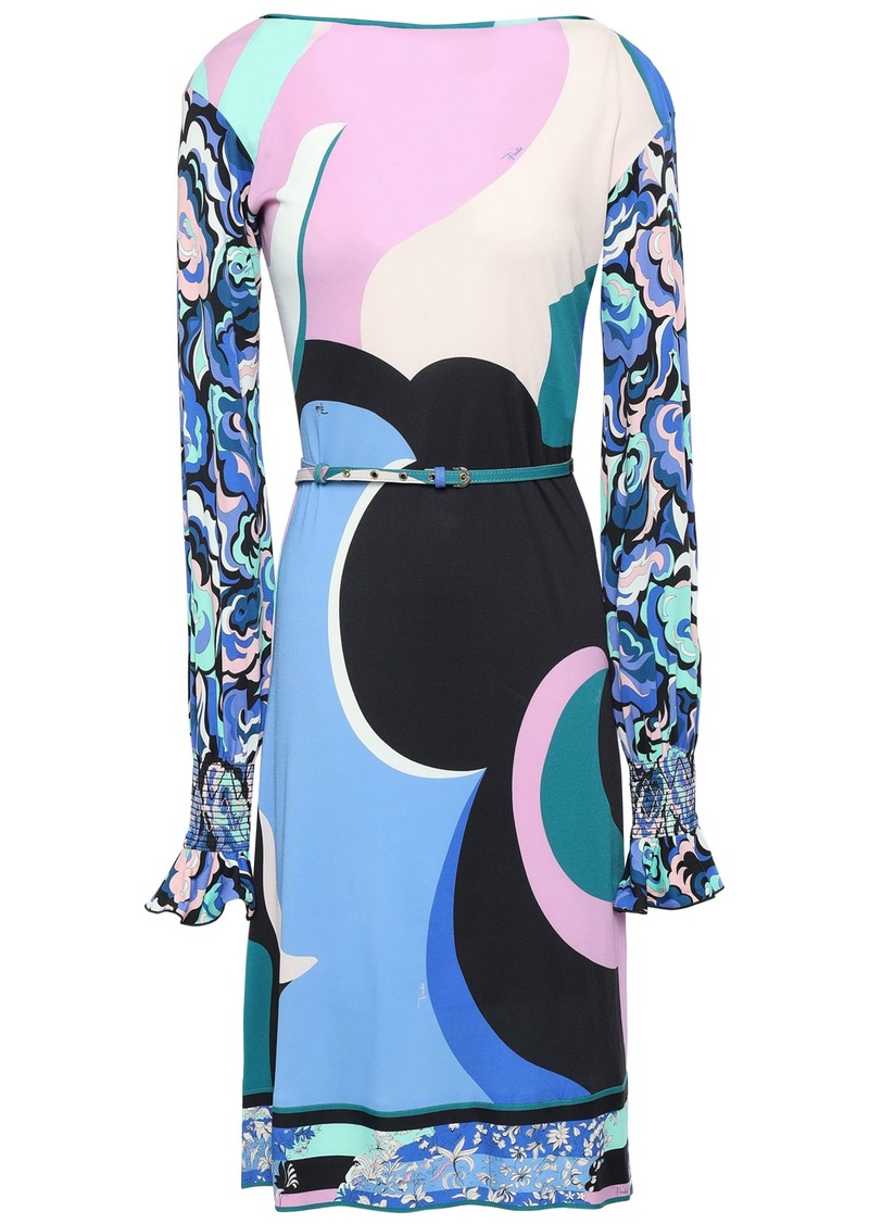 Emilio Pucci Woman Belted Printed Stretch-jersey Dress Blue