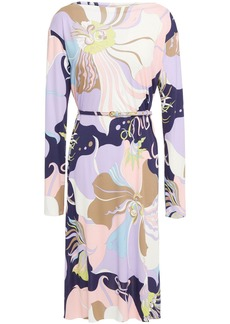 Emilio Pucci Woman Belted Printed Stretch-jersey Dress Lavender