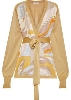 Emilio Pucci Woman Belted Printed Twill-paneled Stretch-knit Cardigan Gold