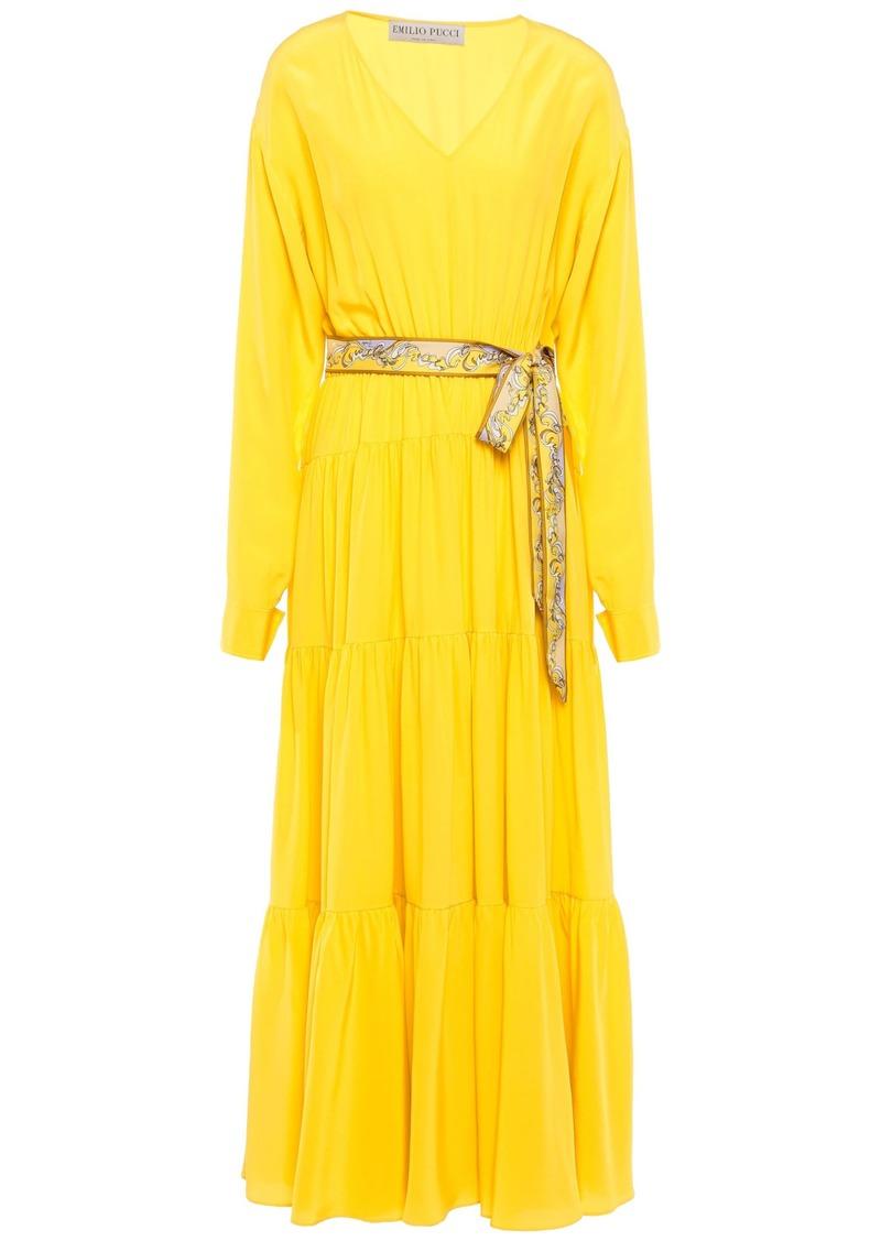 Emilio Pucci Woman Belted Silk Crepe De Chine Midi Dress Yellow