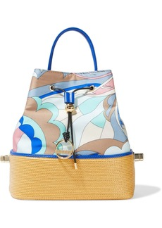 Emilio Pucci Woman Bonita Woven Straw-paneled Printed Satin-twill Bucket Bag Blue