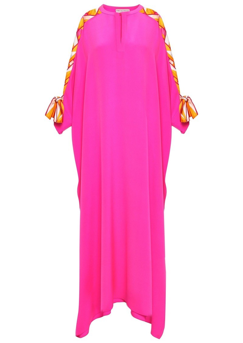 Emilio Pucci Woman Bow-detailed Embellished Silk Crepe De Chine Kaftan Bright Pink