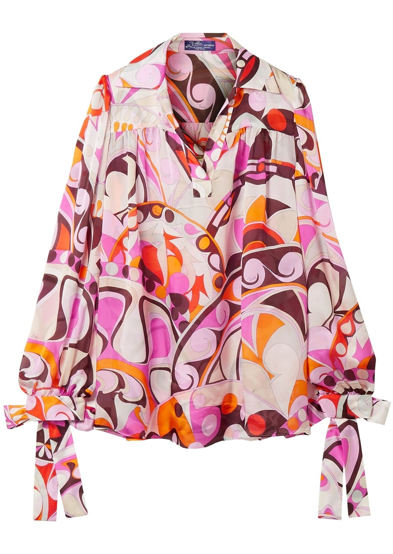 Emilio Pucci Woman Bow-detailed Printed Silk Crepe De Chine Blouse Blush