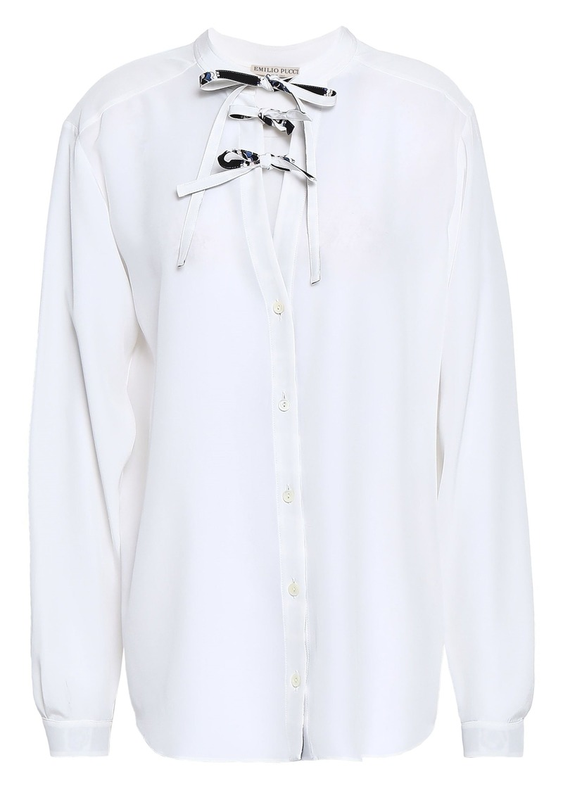 Emilio Pucci Woman Bow-detailed Silk Crepe De Chine Blouse White