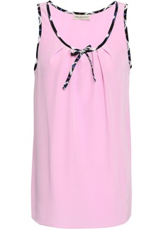 Emilio Pucci Woman Bow-detailed Silk Crepe De Chine Tank Baby Pink