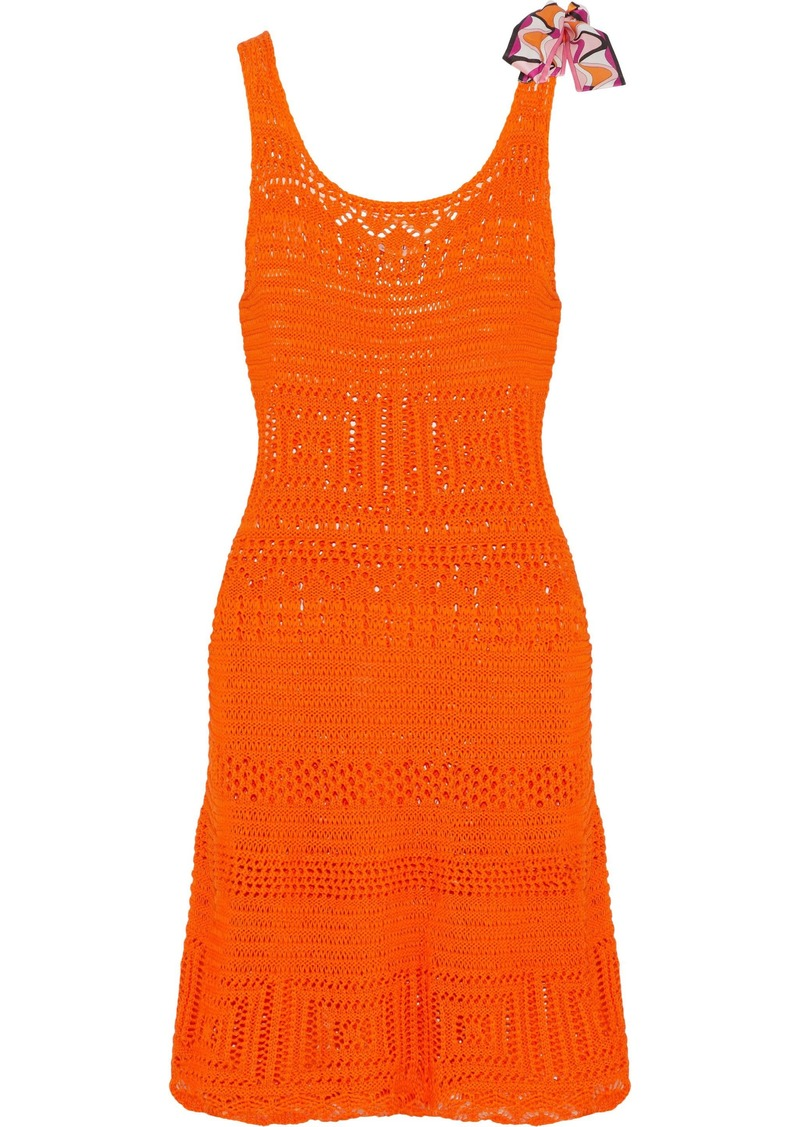 Emilio Pucci Woman Bow-embellished Crocheted Cotton Dress Bright Orange