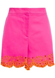 Emilio Pucci Woman Broderie Anglaise-trimmed Cotton-blend Twill Shorts Bright Pink