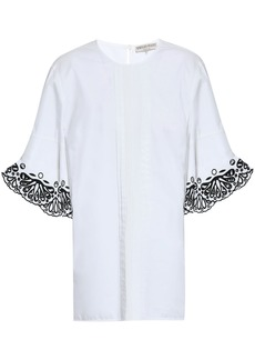 Emilio Pucci Woman Broderie Anglaise-trimmed Pintucked Cotton-poplin Blouse White