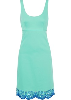 Emilio Pucci Woman Broderie Anglaise-trimmed Stretch-cotton Twill Dress Light Green
