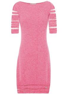 Emilio Pucci Woman Burnout-effect Mélange Ribbed Wool-blend Mini Dress Pink