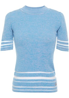Emilio Pucci Woman Burnout-effect Mélange Ribbed Wool-blend Top Light Blue