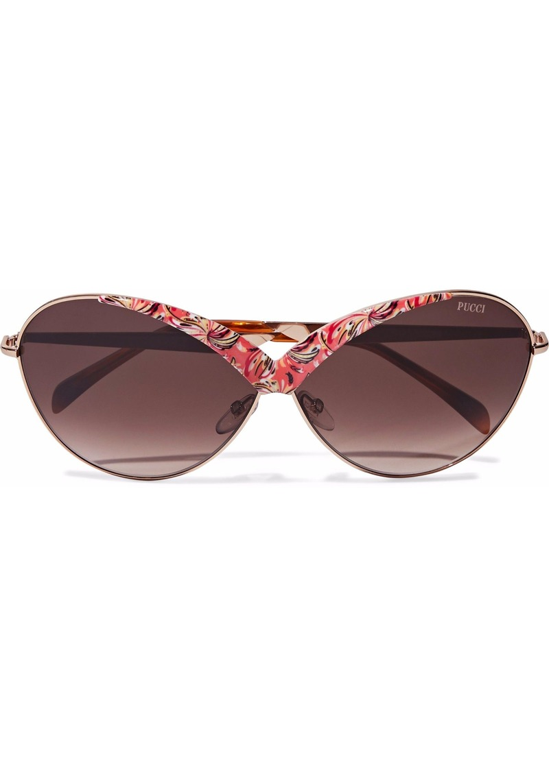 Emilio Pucci Woman Butterfly-frame Printed Acetate And Gold-tone Sunglasses Multicolor