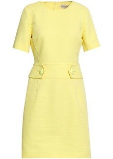 Emilio Pucci Woman Button-detailed Cotton And Silk-blend Piqué Mini Dress Pastel Yellow