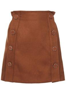Emilio Pucci Woman Button-detailed Linen-twill Mini Skirt Brown