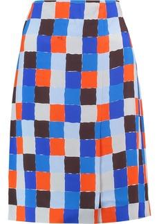 Emilio Pucci Woman Checked Crepe Pencil Skirt Blue