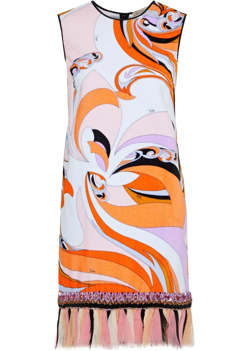 Emilio Pucci Woman Chiffon-trimmed Embellished Printed Cotton-fleece Dress Orange
