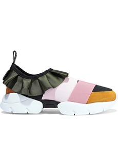 Emilio Pucci Woman City Ruffled Duchesse-satin Neoprene And Suede Slip-on Sneakers Pastel Pink