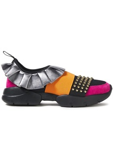Emilio Pucci Woman City One Ruffled Leather Suede And Neoprene Slip-on Sneakers Multicolor