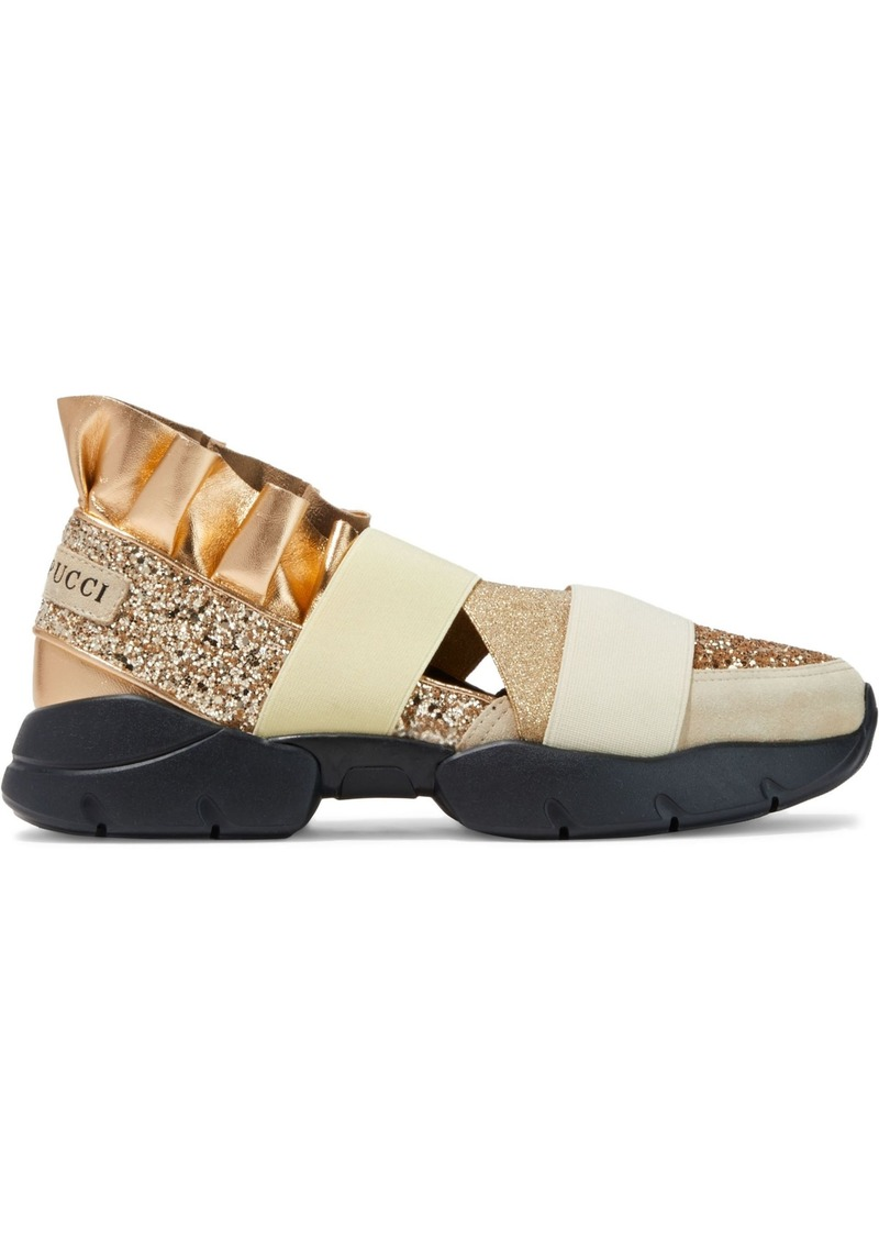 Emilio Pucci Woman City Up Glittered Metallic Leather And Suede Slip-on Sneakers Gold