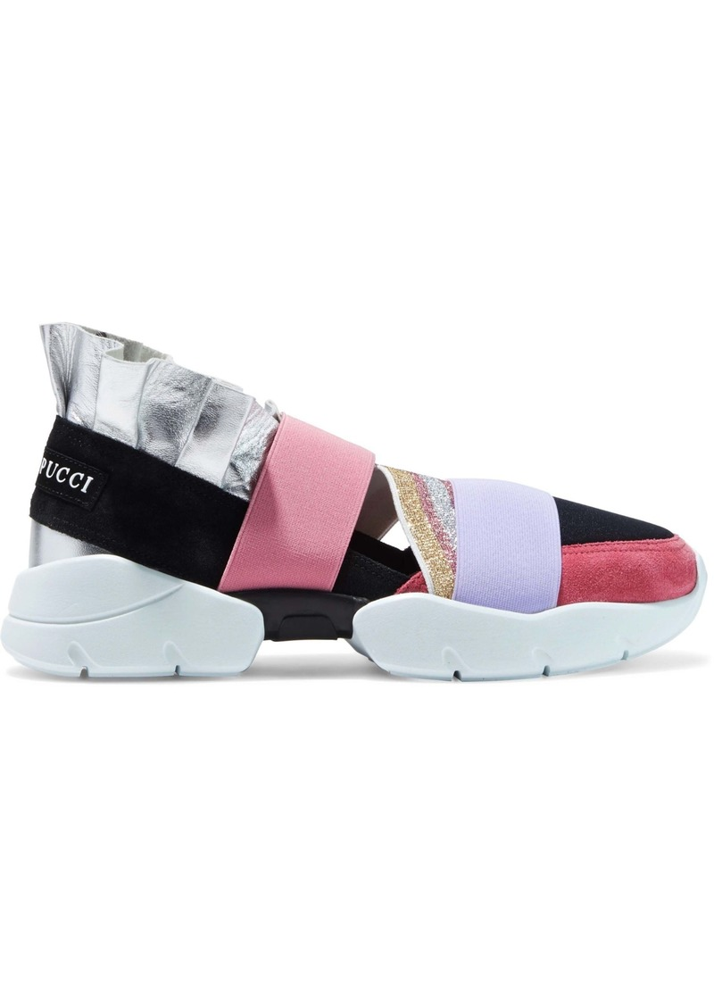Emilio Pucci Woman City Up Metallic-leather Suede And Neoprene Slip-on Sneakers Pink