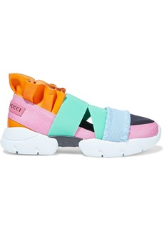 Emilio Pucci Woman City Up Neoprene-paneled Ruffled Smooth And Lizard-effect Leather Slip-on Sneakers Multicolor