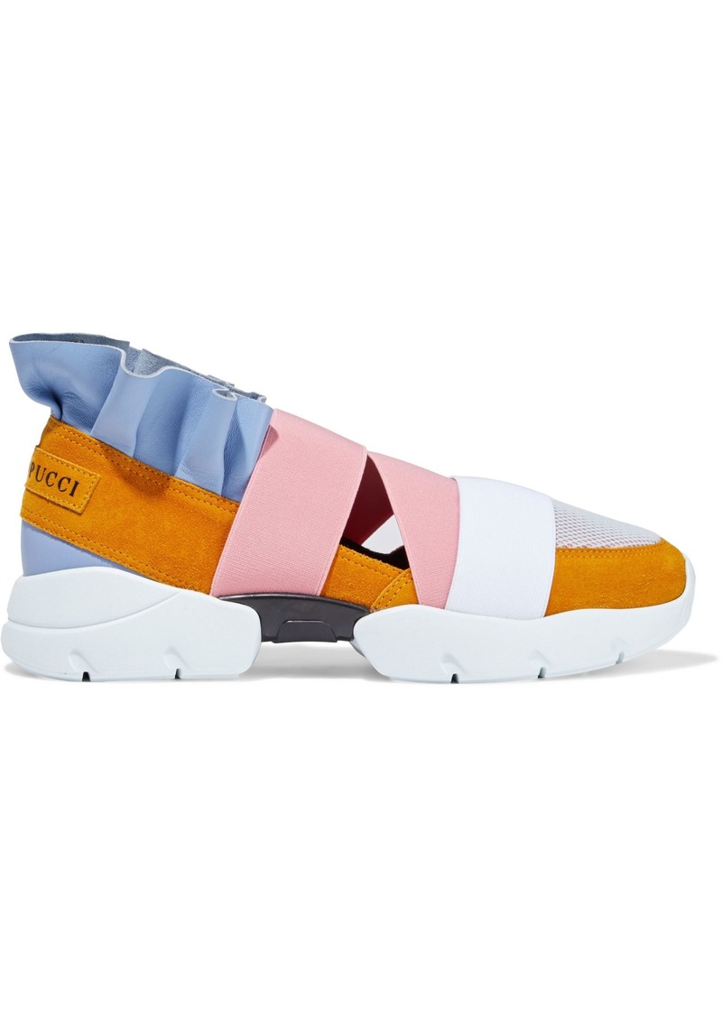 Emilio Pucci Woman City Up Ruffled Leather Suede And Mesh Slip-on Sneakers Multicolor