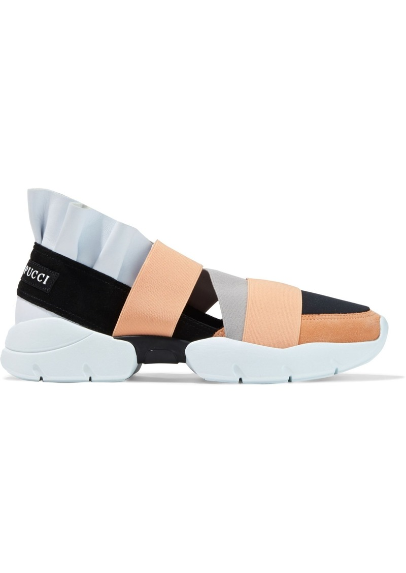 Emilio Pucci Woman City Up Ruffled Leather Suede And Neoprene Slip-on Sneakers Peach